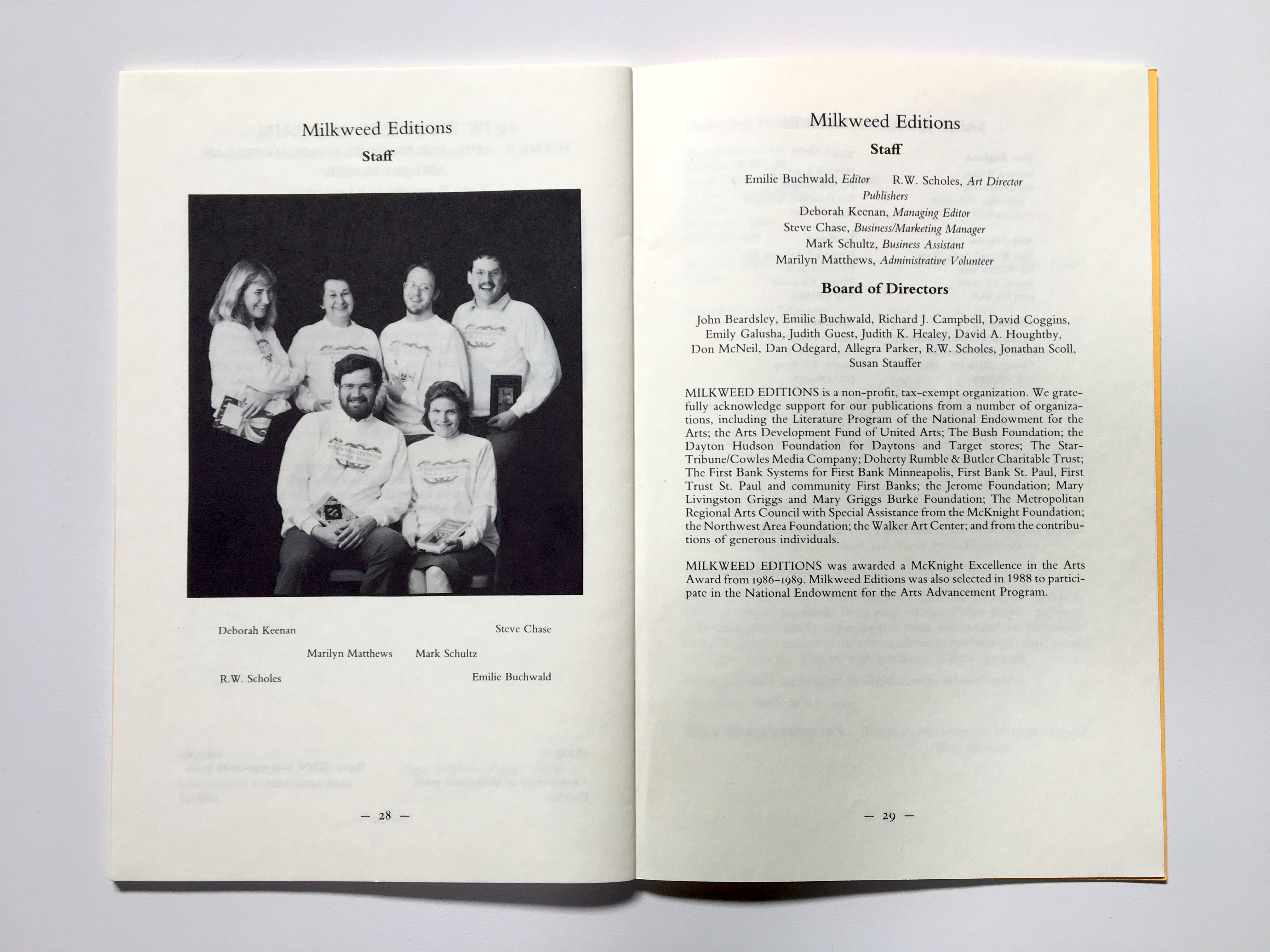 Milkweed Staff, 1988 | Milkweed Editions
