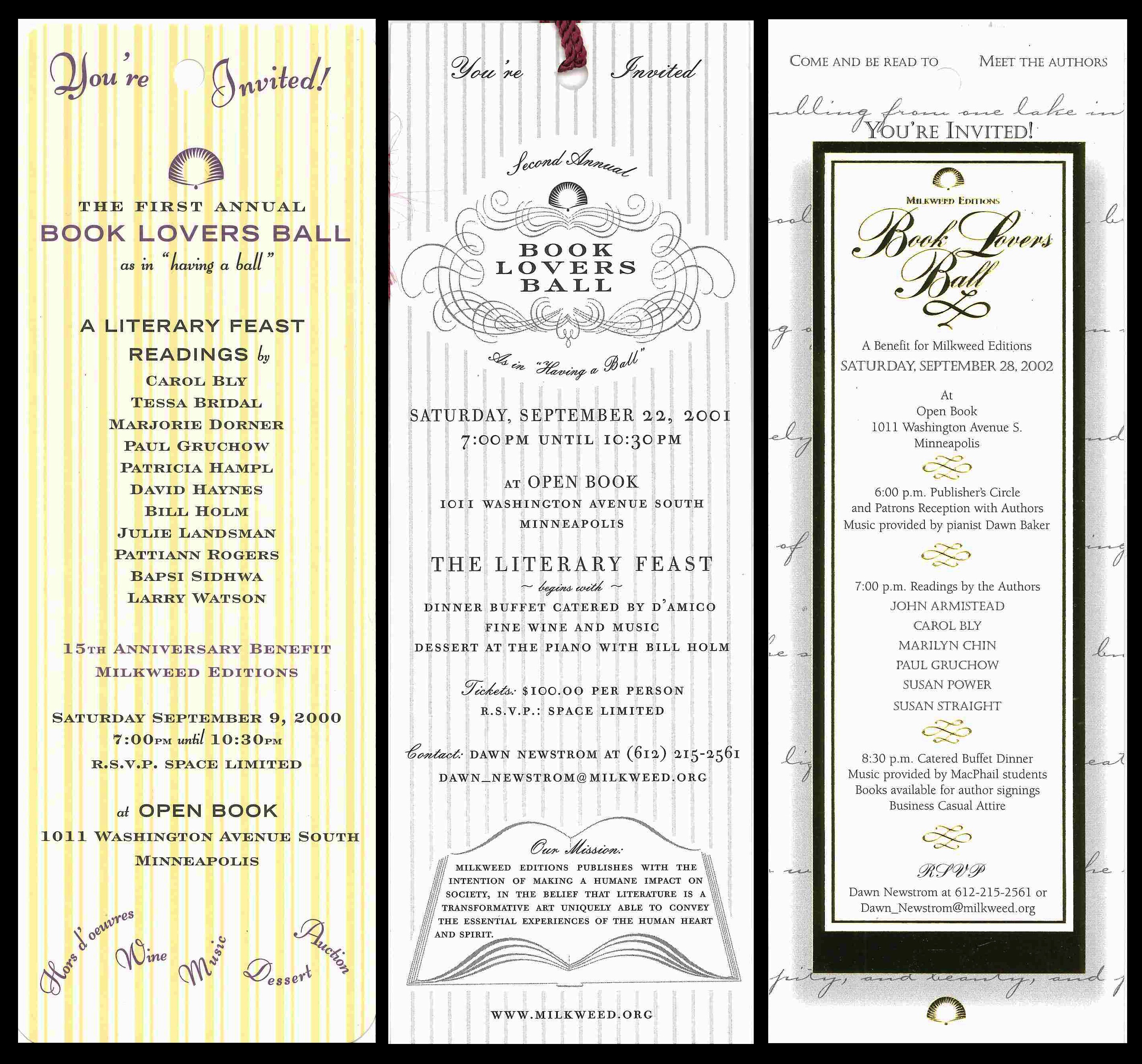 Book Lovers Ball Invitations 2000–2002 | Milkweed Editions