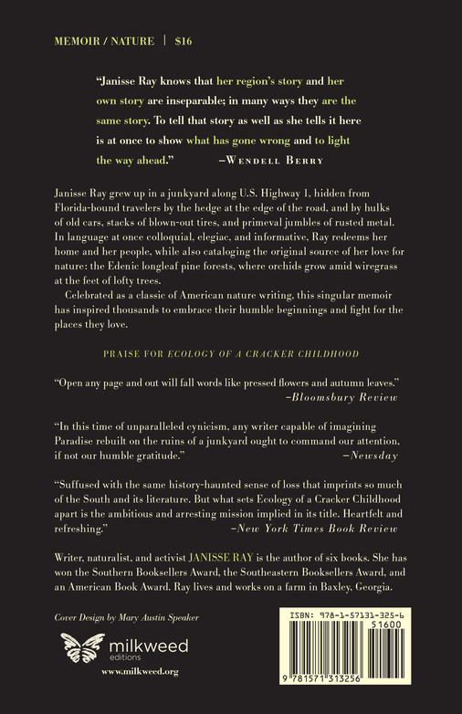 Ecology of a Cracker Childhood (back cover)