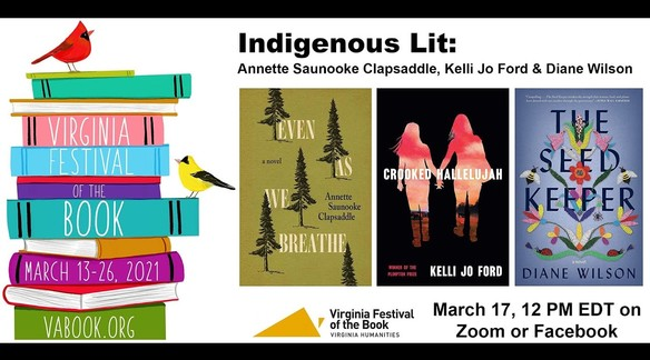 Watch: Indigenous Lit: Annette Saunooke Clapsaddle, Kelli Jo Ford & Diane Wilson | Va. Festival of the Book